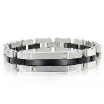 Black and White Diamond Mens Bracelet in Stainless Steel and 14k Gold (G, SI2, 0.10 carat) - 8 inches