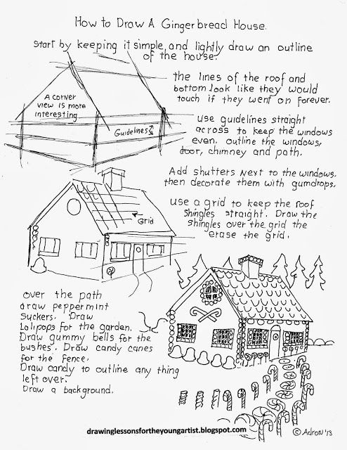 how to draw worksheets for the young artist how to draw a gingerbread house for christmas wor. Black Bedroom Furniture Sets. Home Design Ideas