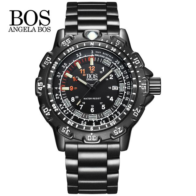 ANGELA BOS Men Multifunction Rotary Dial Compass    Watch Army Alloy Silicone Luxury Men Watch Super Luminous Clock  #Affiliate