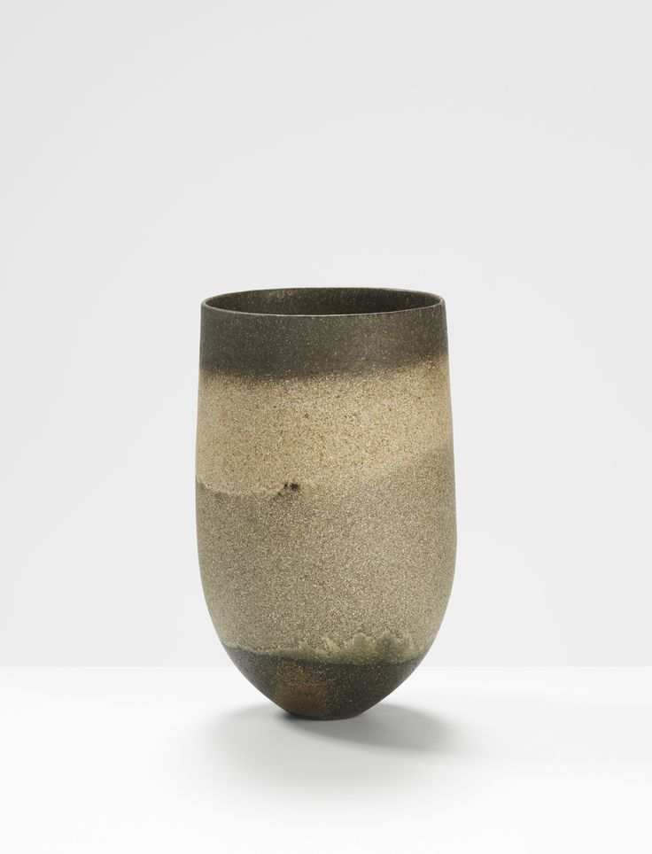 Jennifer Lee, Smoky, sand-grained, dark base and rim, 1999 Handbuilt coloured stoneware, 18.4 cm (h) #jenniferleeceramics #ceramic