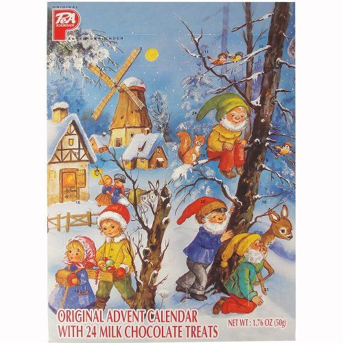 Santa and Snow PeA German Advent Calendar with Chocolate Gifts Inside - http://bestchocolateshop.com/santa-and-snow-pea-german-advent-calendar-with-chocolate-gifts-inside/