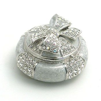 Austrian Crystal Wrapped With Bow Trinket Box