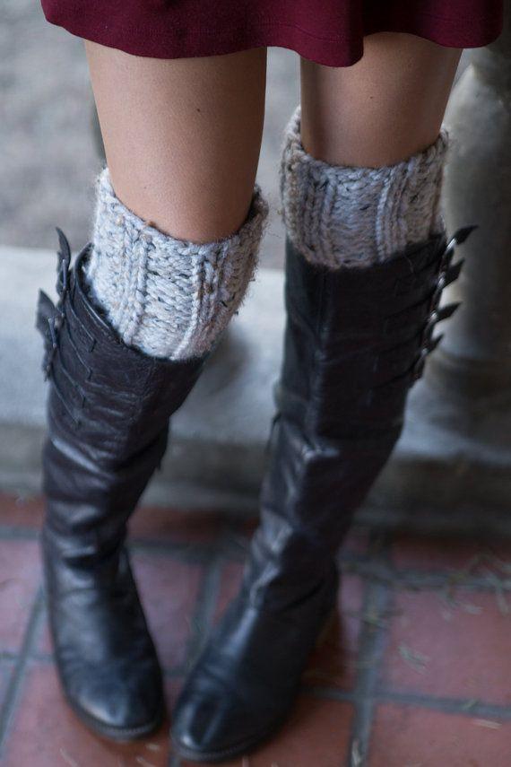 Marbre gris Boot poignets - Boot tricot poignets - jambières - moitié chaussettes - gris - femme - filles de l'adolescence - personnaliser votre commande