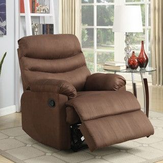 Anthony Collection Medium Brown Microfiber Recliner by Nathaniel Home
