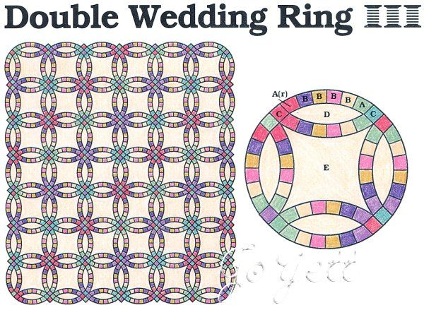 double wedding ring quilt block quilt quilting pattern templates - Double Wedding Ring Quilt Templates