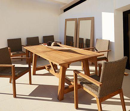 Conjunto de madera de teca y ratán QUEBEC - Leroy Merlin
