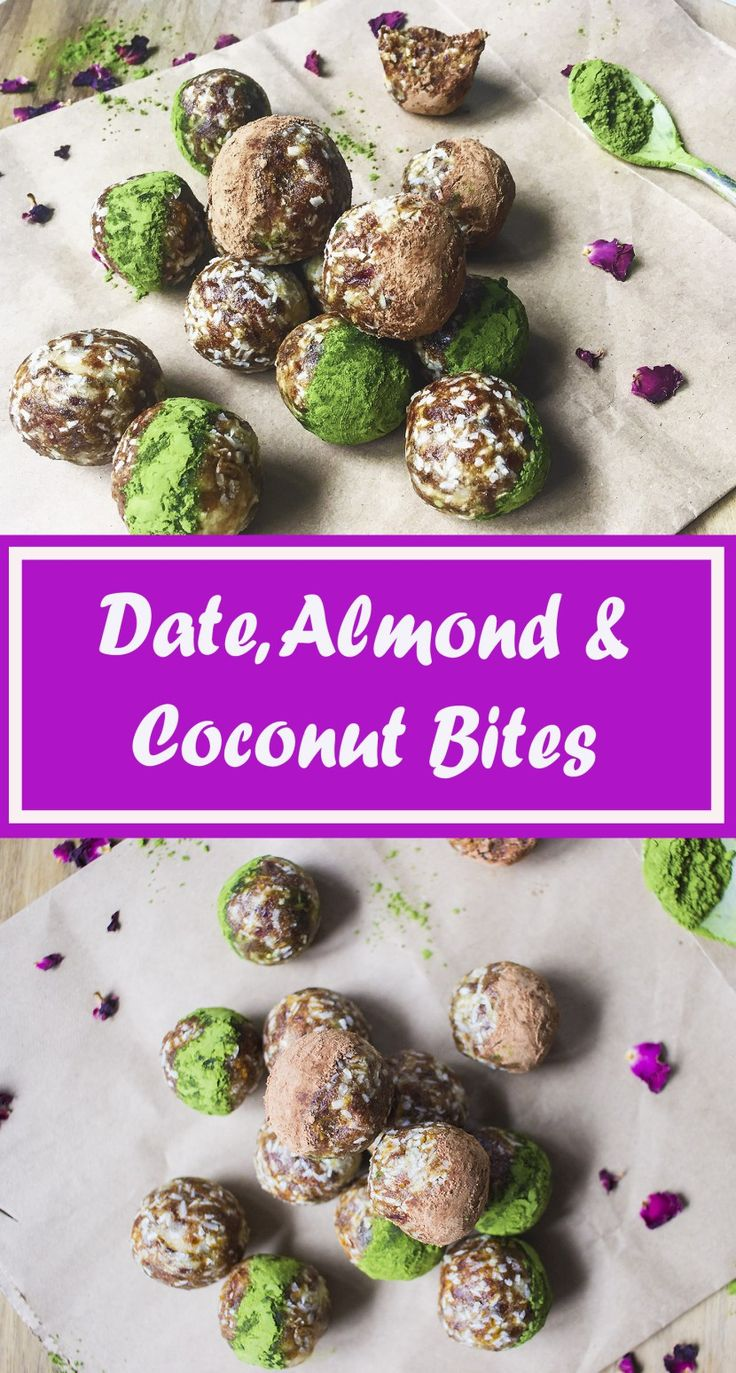 date, almond & coconut bites: a quick, healthy sweet treat, which is easy to make and low in fat and colories