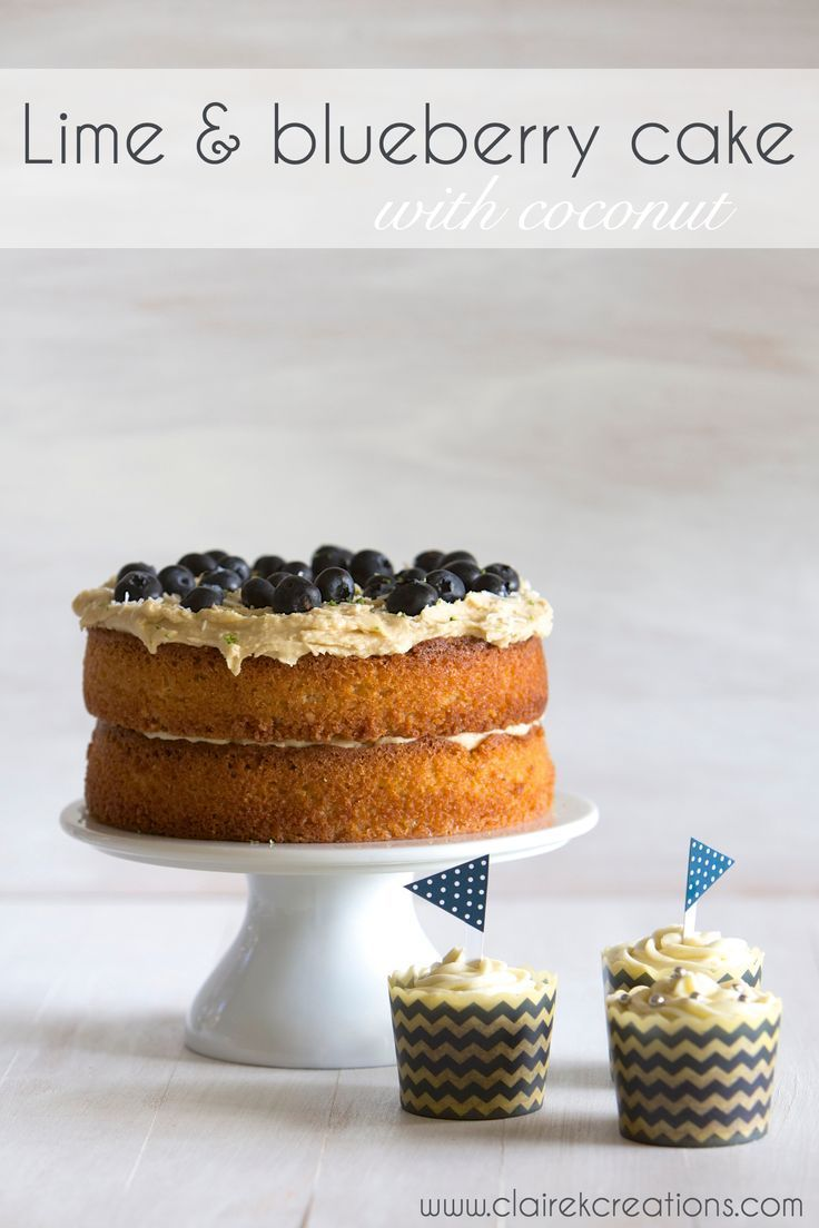 Gluten free lime and blueberry cake with coconut via www.clairekcreations.com #GF #cake #recipe #blueberry #lime