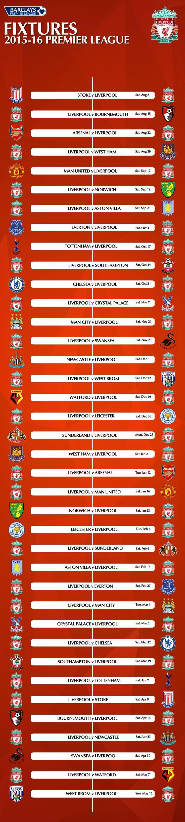 Graphic: Liverpool's complete 2015-2016 Barclays Premier League fixture list - Liverpool FC