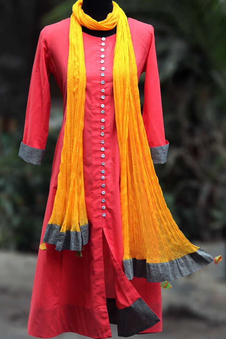 an elegant anarkali in the colour of 'aboli' flower, with grey mangalgiri border and white shell buttons. paired with a mango-yellow chiffon dupatta with grey