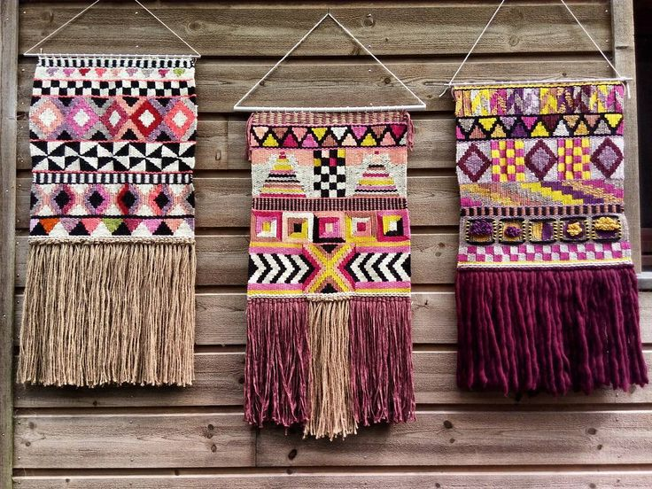 3 geometric weavings ; not made to be together but finally very well assembled…