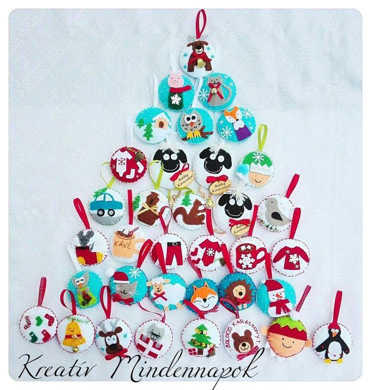 Karácsonyi filcdíszek. Kézzel készített karácsonyfadíszek, mobildíszek, ajándékísérők 🎄🎁🎅⛄