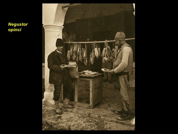 Negustor de opinci, the shop of the sandal seller, Dobrogea, Romania, by Kurt Hielscher, 1933