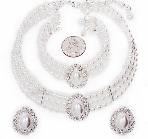 Entire Look White Pearl Bridal Necklace Set, CLIP ON Earring, Bracelet CG3