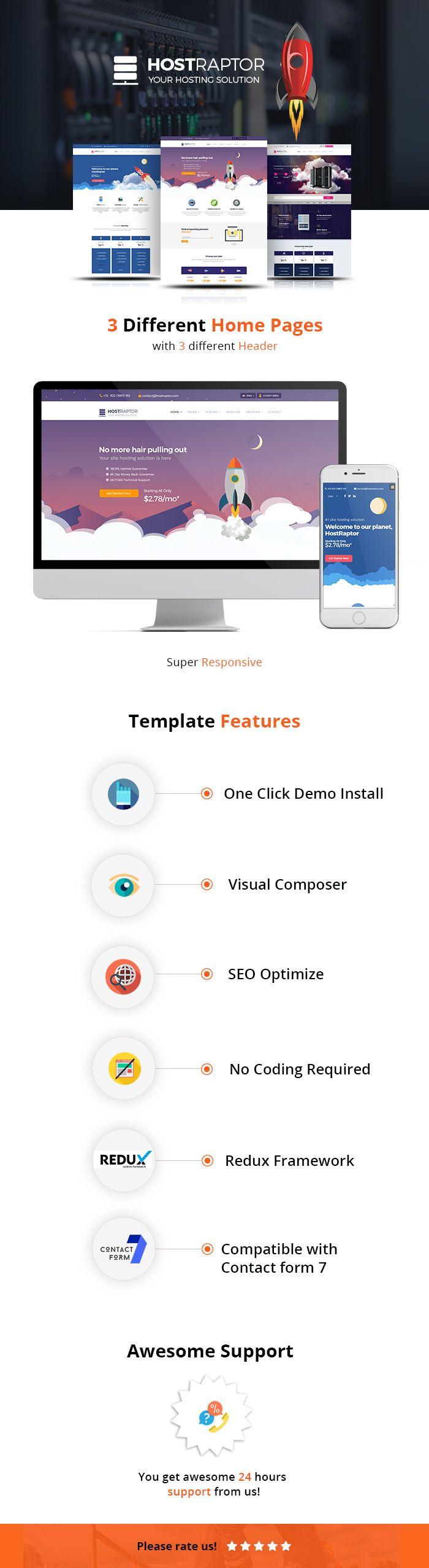 Download Hostraptor – Hosting Responsive Website Theme (Hosting)