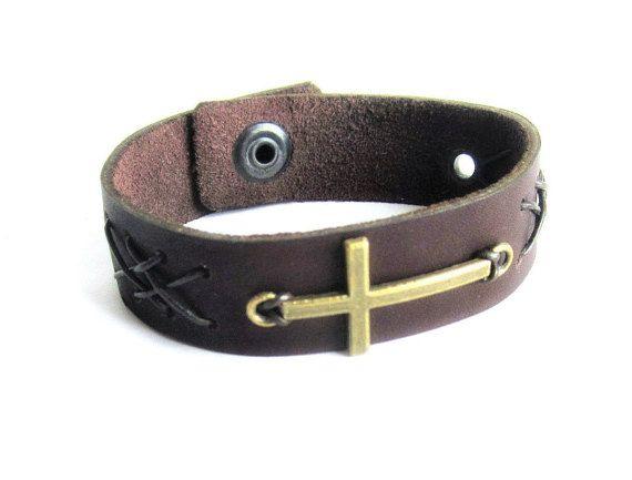 Men cross bracelet leather cross bracelet mens by Bravemenjewelry