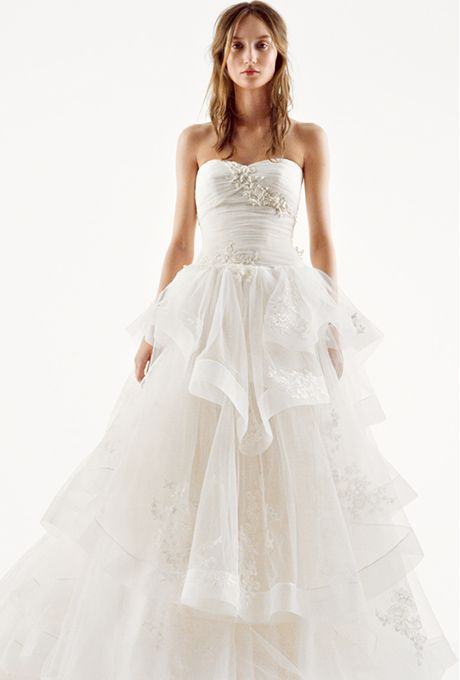White by Vera Wang Strapless Tiered Tulle gown VW351197