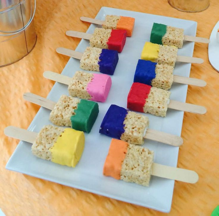 Rice Krispie pops at an art birthday party! See more party ideas at CatchMyParty.com!
