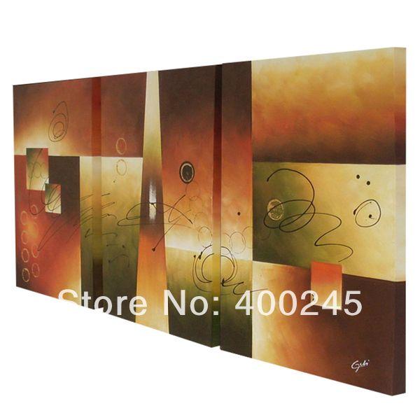 Wall art набор 3 Абстрактные Картины маслом на холсте ручная роспись Высокое качество 36 дюйм(ов) x 72 дюйм(ов) бесплатная доставка