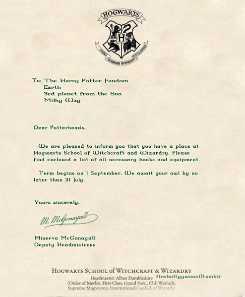 hogwarts acceptance letter so going to send this to my future kids right before we go to disney worldharry potter theme park