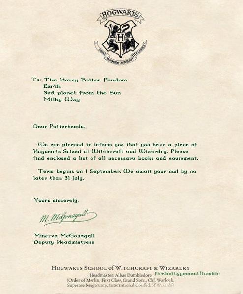 Hogwarts acceptance letter =). | Harry Potter | Pinterest | Hogwarts ...