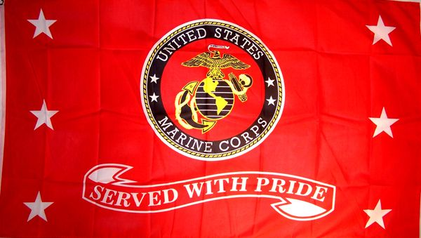 US Marines Served with Pride Flag - 3 x 5 ft Polyester, Outdoor Flags - Flag poles