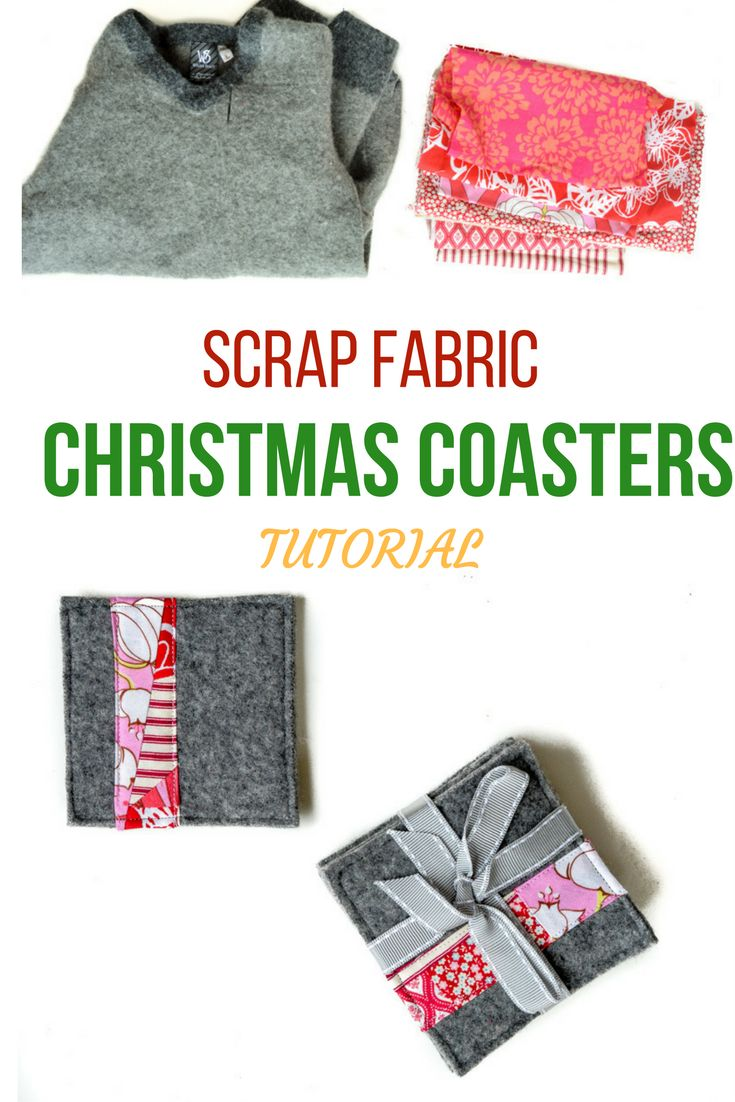 How to make old sweaters into scrap fabric Christmas coasters, #scrapfabriccoasters #christmascoasters