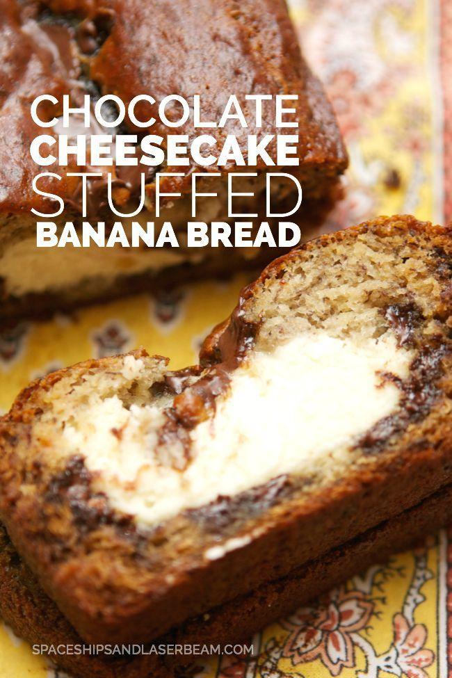 Chocolate Cheesecake Stuffed Banana Bread #flashsecurity - Spaceships and Laser Beams