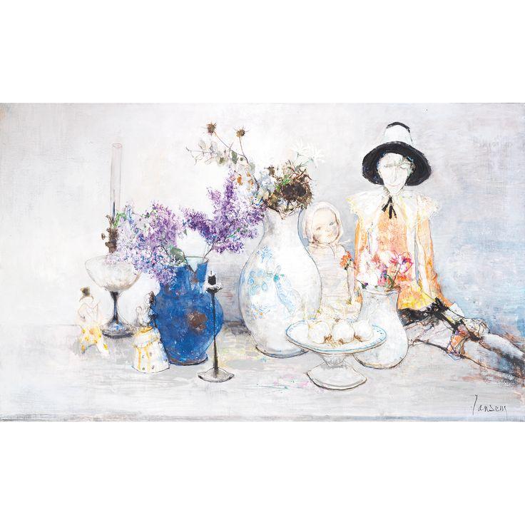 JEAN JANSEM (1920-2013)  Nature morte aux lilas  Huile sur toile  Signée en bas à droite  89 x 147 cm Vendu 42 900€