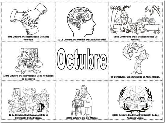 Fechas importantes de octubre para colorear - efemérides de octubre para pintar…