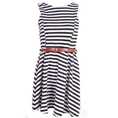 Ladies Black White Dress Fitted Party Casual Belted Stripey Dresses £19.95