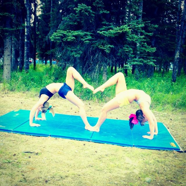 Cheer Cheerleading Cheerleaders Flexible Stunting Fun Summer! Need to try!!! @Anna Scott Wingfield @Bailey Williams @Sarah Kathryn Phillips