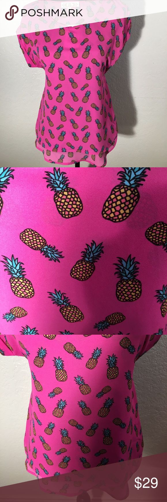 Pink Rose Pink Pineapple Top Pink Pineapple Top has Cap Sleeves and a curving Hem that is longer in the back than front. Fabric Content/ Care Instructions in Photos. Pink Rose Tops Blouses