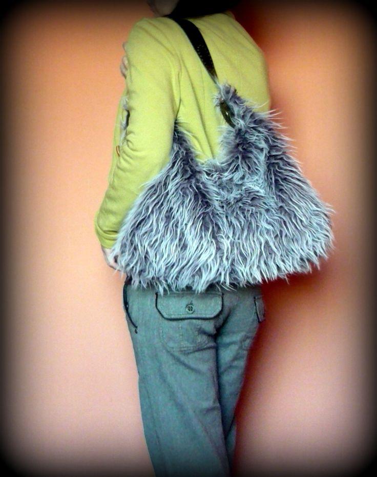 "Handmade by Judy Majoros- Purple ""Yeti"" Faux fur hobo bag.Recycled bag"
