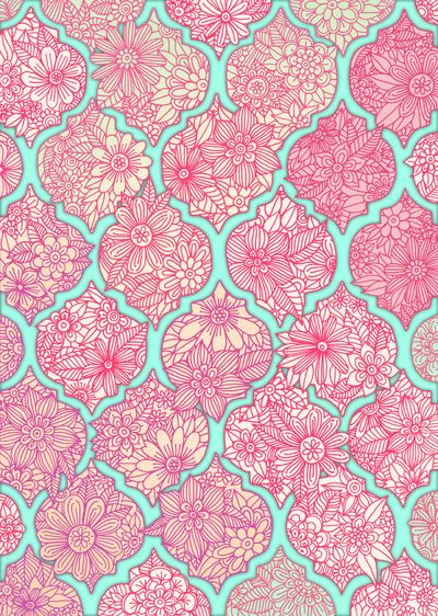 Moroccan Floral Lattice Arrangement in Pinks Art Print