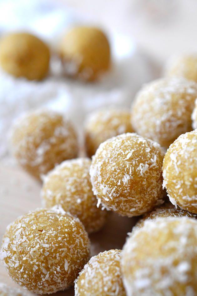 nads healthy kitchen | cashew-mango-lemon and coconutbliss balls