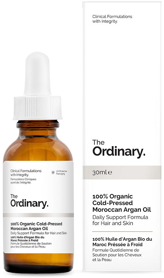 100% Organic Cold-Pressed Moroccan Argan Oil - 30ml - Daily Support Formula for Hair and Skin. This formulation uses 100% pure Moroccan Argan Seed Oil extracted through a cold pressing that preserves the integrity of the oil's fatty acids, vitamins, phenols (including caffeic acid) and carotenes. Argan oil's main fatty acid content is made up of oleic acid and linoleic acid. The oil supports healthy skin and reduces the appearance of flaking. It also adds soft sheen and strength to hair.