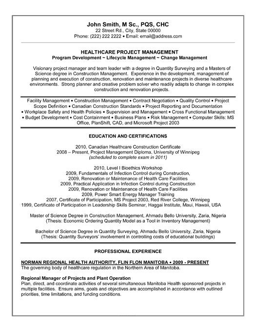 21 best Best Construction Resume Templates \ Samples images on - healthcare project manager resume