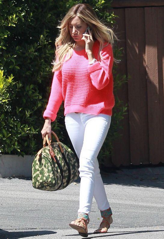 J Brand Blanc Destruct 811 Mid Rise Skinny Jean as seen on Ashley Tisdale $183