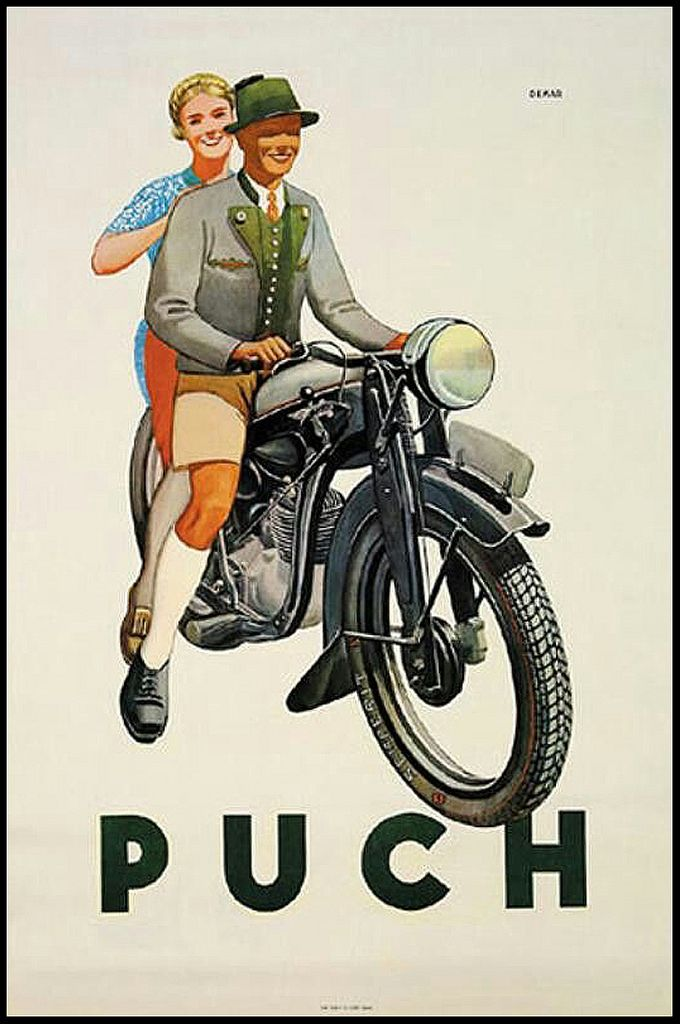 1937 bavarian couple on a Puch -