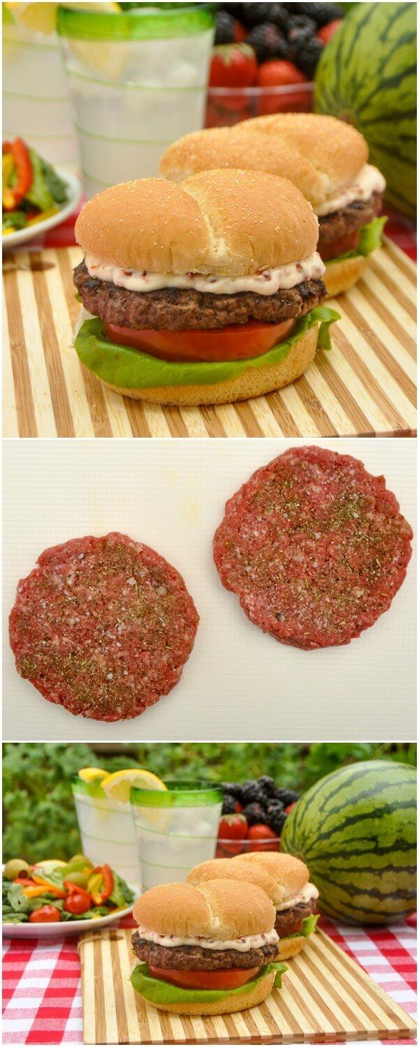 Italian Herb & Parmesan Burger with  Sundried Tomato Mayo on D'Italiano®️️️ Original Crustini Hamburger Buns - bring the taste of Italy to your next summer barbecue with these deliciously seasoned burgers using Italian herbs and parmesan cheese in the burger mix. #sponsored