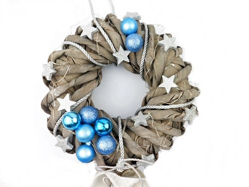 Stroik Świąteczny Niebieski z lampkami