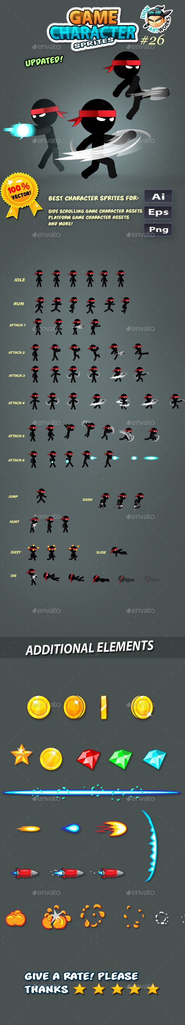 Ninja Stickman Game Character Sprites 26 This assets is for developers who want to create their mobile game apps for IOS and Android games and need Game Character Spritesheets for their projects.