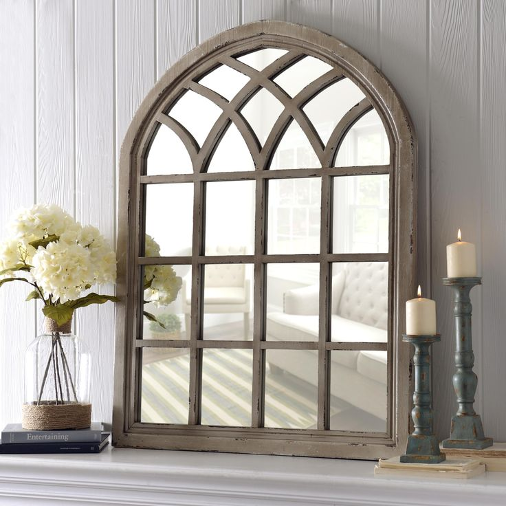 Our Distressed Sadie Arch Mirror is a very popular item. The rustic feel and decorative design make it perfect for entryways and mantles.