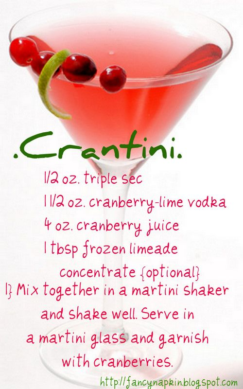 Crantini made from homemade cranberry/lime vodka.  Give the vodka and the recipe for Crantini as Christmas gifts to the neighbors.