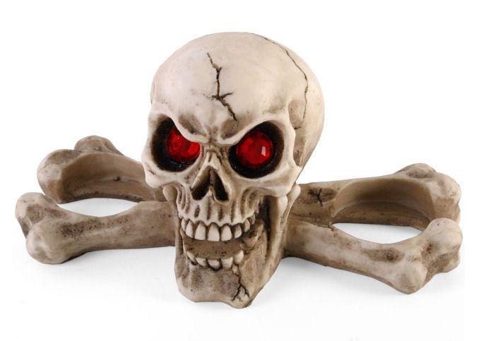 Boze oog doodskop skelet theelichthouder met rode strass ogen
