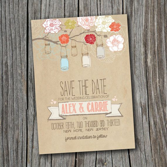 Save the Date Card - Printable - DIY Wedding, RUSTIC, Custom, Vintage (Wedding Design #6)