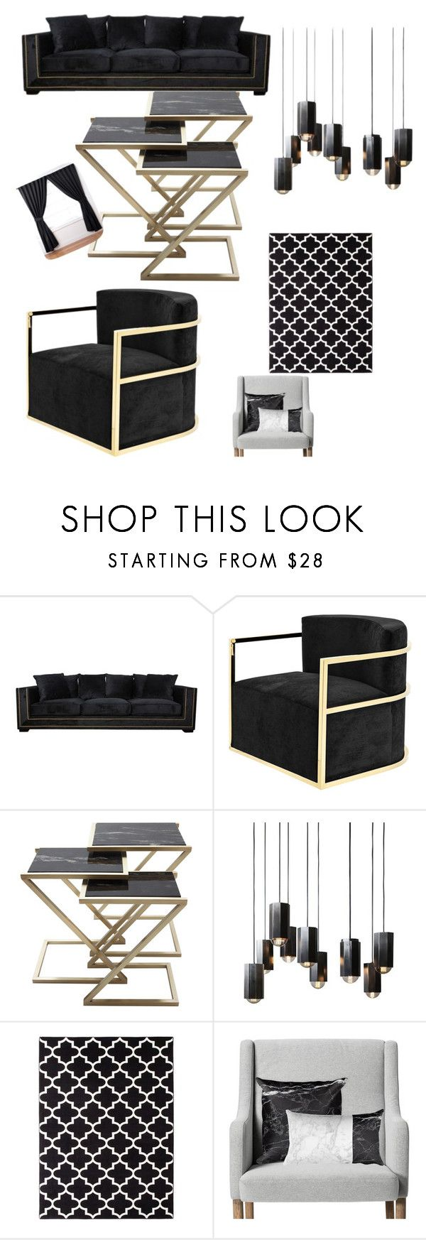 """""""Black Living room😍"""" by queenmimi123 ❤ liked on Polyvore featuring interior, interiors, interior design, home, home decor, interior decorating, Eichholtz, Threshold, ExceptionalSheets and living room"""