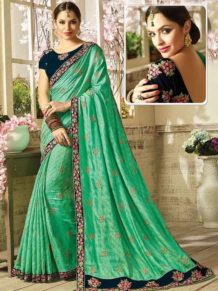 Party wear elegant Multi-Color Border work Velvet Saree with embroidery Blouse #Handmade #SariSaree