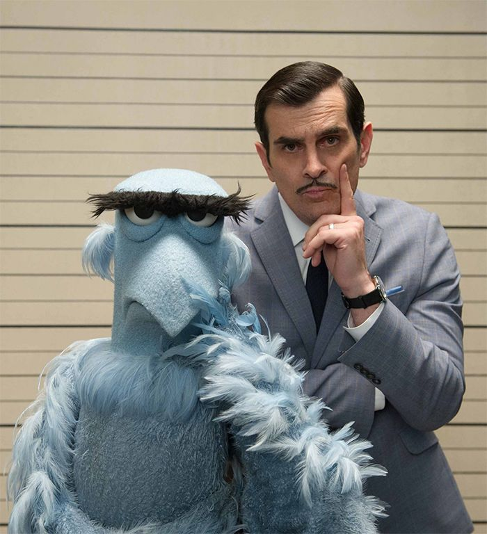 Ty Burrell and Sam Eagle strike a pose in this first look from Muppets Most Wanted.